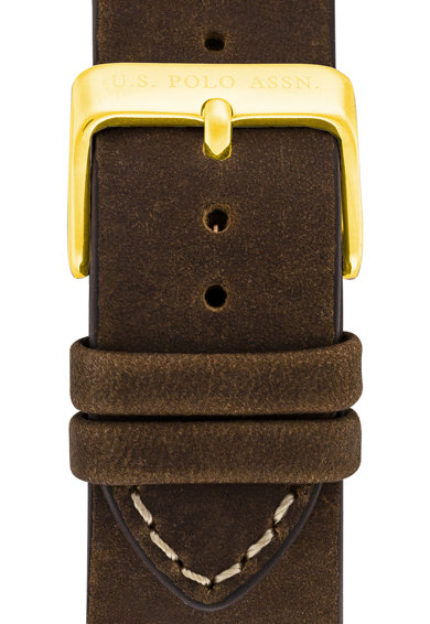 U.S. Polo Assn. Ceas analog cu o curea din piele Barbati