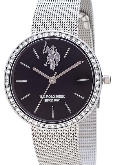 U.S. Polo Assn. Ceas din otel inoxidabil decorat cu cristale Swarovski Femei