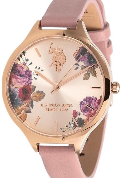 U.S. Polo Assn. Ceas quartz cu cadran cu model floral Femei