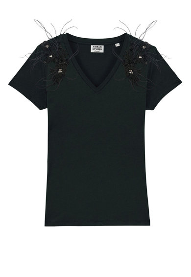 ambar studio Traveller V-nyakú organikuspamut póló női