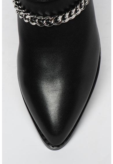 Buffalo Mylo hegyesorrú bőr bokacsizma díszláncokkal női