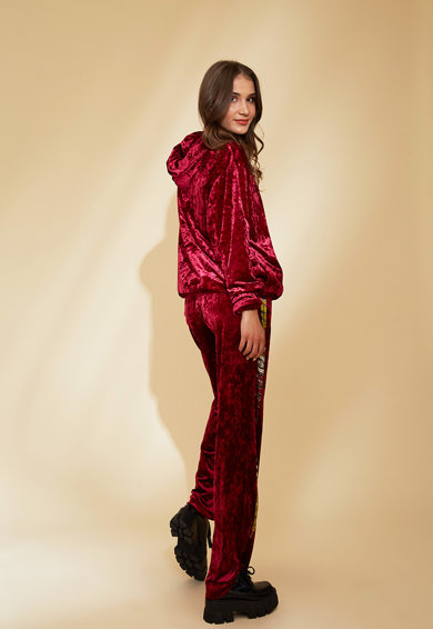 MIAU by Clara Rotescu Set de pantaloni sport si hanorac cu fermoar si aspect catifelat Paris Femei