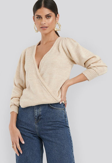 NA-KD Átlapolt fazonú finom kötött pulóver női