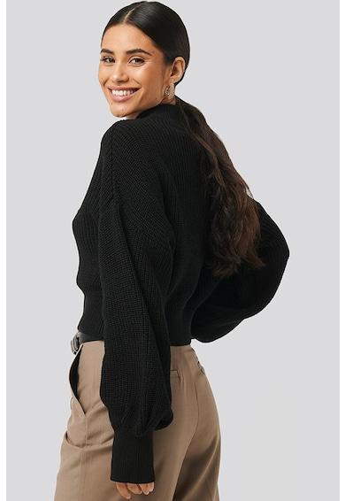 NA-KD Bordázott crop pulóver bő ujjakkal női