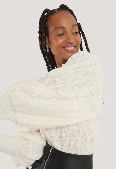 NA-KD V-nyakú pulóver puffos ujjakkal női