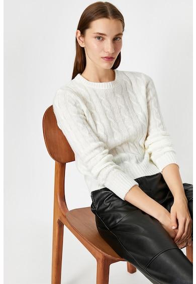 KOTON Csavart kötésmintás kerek nyakú pulóver 2 női
