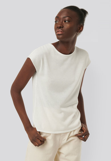 NA-KD Kerek nyakú póló rövid ujjakkal női