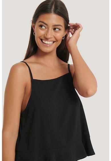 NA-KD Szögletes nyakú ujjatlan felső fodros alsó szegéllyel női