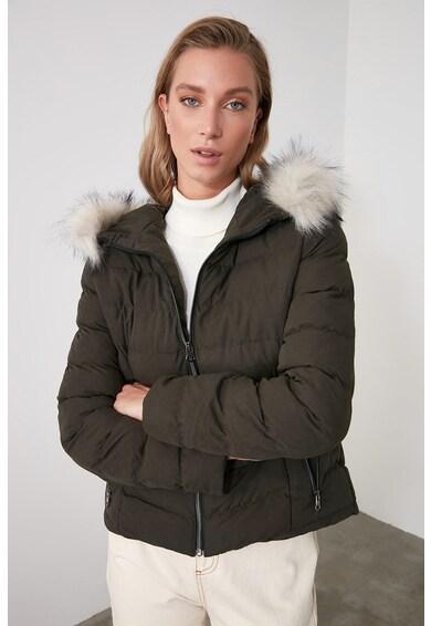 Trendyol Geaca matlasata cu gluga si garnitura de blana sintetica Femei