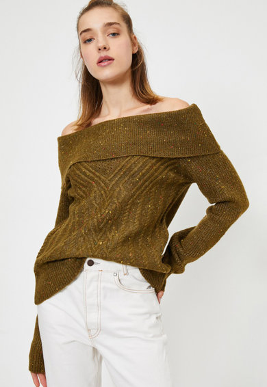 KOTON Ejtett vállú pulóver női
