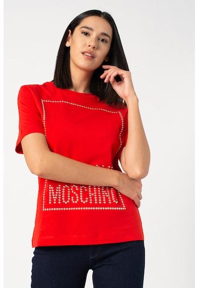 Love Moschino Kerek nyakú póló szegecses rátétekkel női