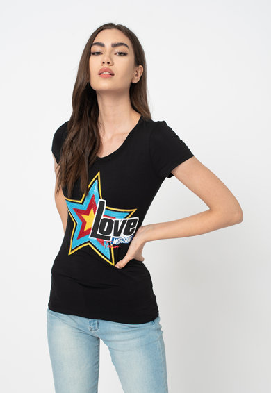 Love Moschino Tricou cu aplicatii din paiete Femei