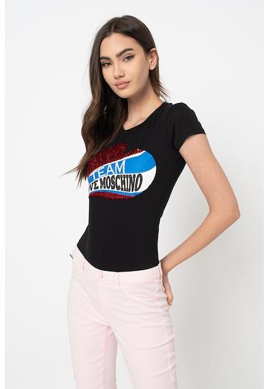 Love Moschino Póló flitteres rátétekkel női