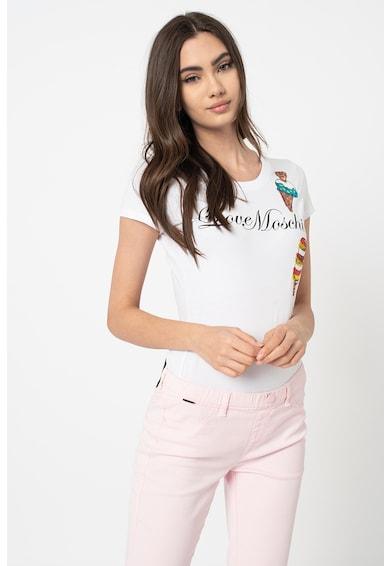 Love Moschino Mintás póló logóval és flitteres rátétekkel női
