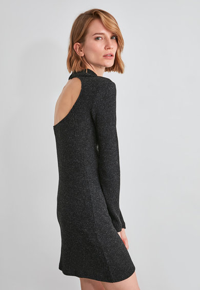 Trendyol Bordázott miniruha kivágott hátrésszel női