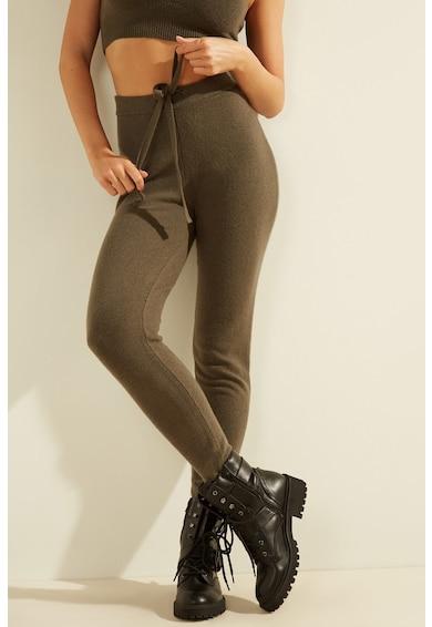 GUESS JEANS Pantaloni jogger tricotati fin cu snur de ajustare Femei