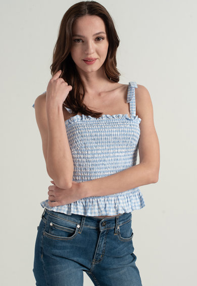 GUESS JEANS Top cu insertie elastica si model gingham Femei