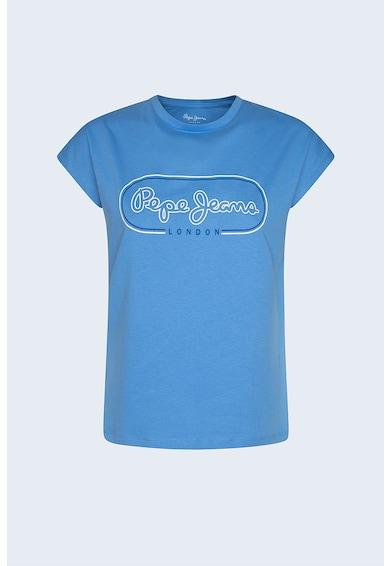 Pepe Jeans London Tricou cu decolteu la baza gatului si logo Femei