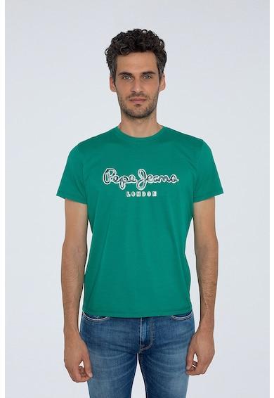 Pepe Jeans London Tricou cu decolteu la baza gatului si imprimeu logo Barbati