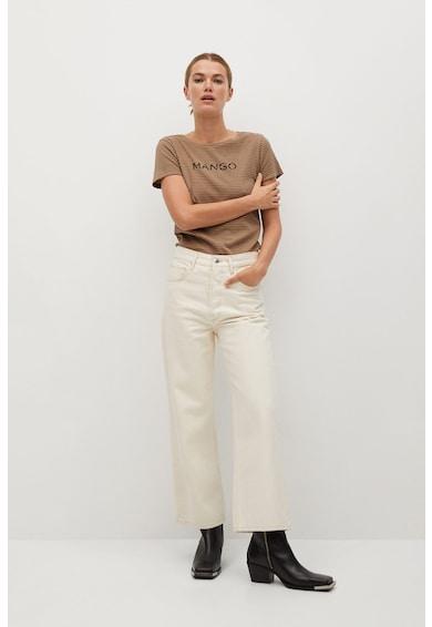 Mango Szűk fazonú organikuspamut póló logóval női
