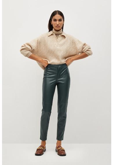 Mango London szűk szabású műbőr nadrág női