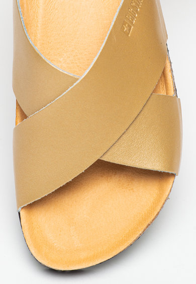 Big Star Papuci de piele cu aspect metalizat Femei