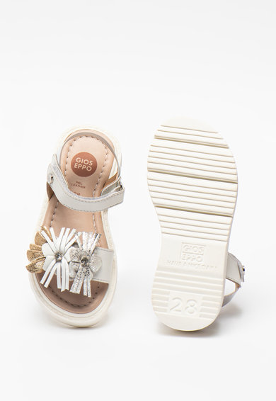 Gioseppo Sandale de piele cu velcro si detalii florale Saxon Fete