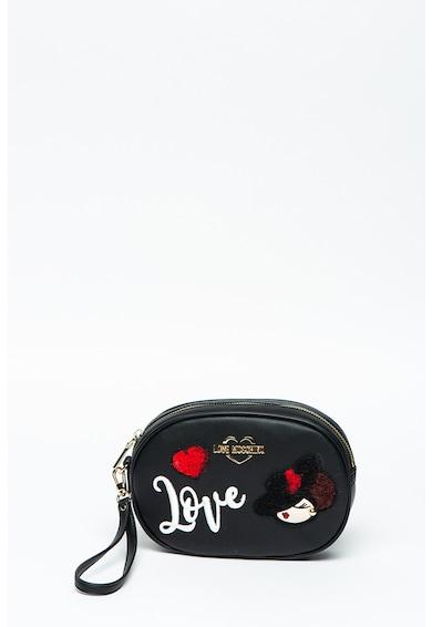 Love Moschino Borseta de piele ecologica cu aplicatii brodate Femei