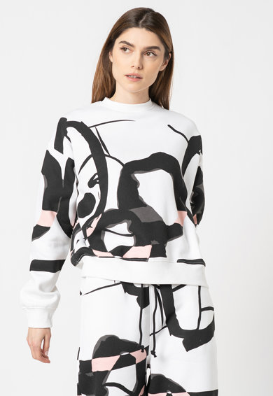 Missguided Bluza sport cu maneci cazute si model abstract Femei