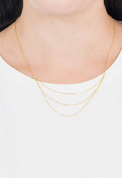 PDPAOLA Colier de argint veritabil placat cu aur de 18K Nia Femei