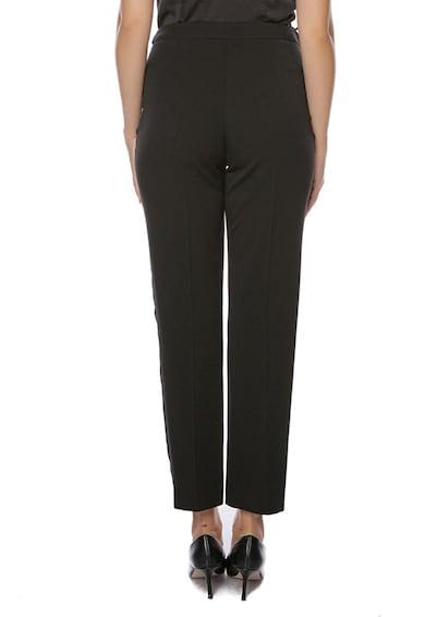 Miss One Pantaloni din amestec de lana cu insertii laterale din satin Femei