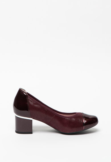 Caprice Pantofi din piele si piele lacuita cu aplicatie cap toe Femei