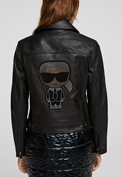 Karl Lagerfeld Ikonik Karl, Jacheta biker din piele cu aplicatii cu strasuri Ikonic Femei