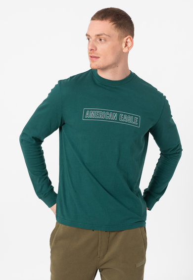 American Eagle Bluza cu decolteu la baza gatului si imprimeu logo Barbati