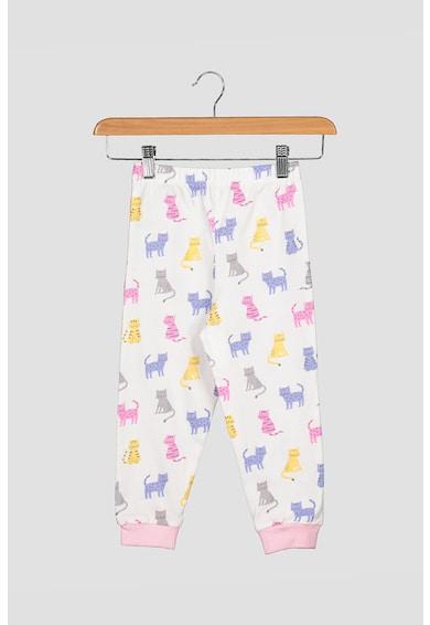 JoJo Maman Bebe Set 2 perechi de pijamale, fete, cu dungi si model grafic cu pisicute, Alb/Roz/Albastru Fete