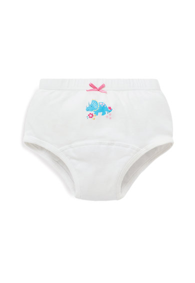 JoJo Maman Bebe Set 3 perechi de chiloti, fete, cu dinozauri si dungi, Multicolor Fete