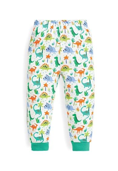 JoJo Maman Bebe Set 2 perechi de pijamale, baieti, cu imprimeu dinozauri, Alb/Verde Baieti