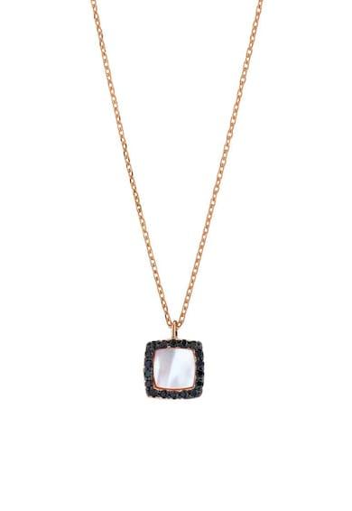 OXETTE Colier placat cu aur rose de 18K, decorat cu Mother of Pearl si cristale Femei