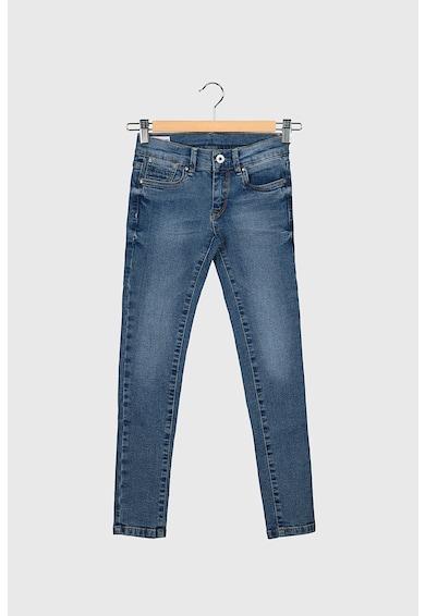 Pepe Jeans London Blugi skinny cu 5 buzunare, Albastru inchis/Alb prafuit Fete