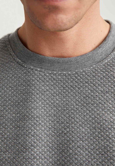 DeFacto Bluza sport texturata cu decolteu la baza gatului Barbati
