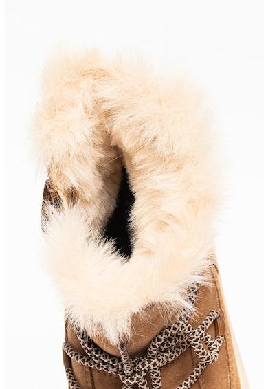 Geox Cizme de piele intoarsa cu garnituri de blana sintetica, fara inchidere Discomix Fete