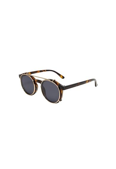 Mango Ochelari de soare cu model tortoise si lentile detasabile Clip Barbati
