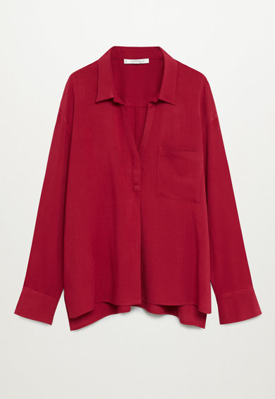 VIOLETA BY MANGO Bluza supradimensionata tip tunica cu buzunar aplicat Ruth Femei