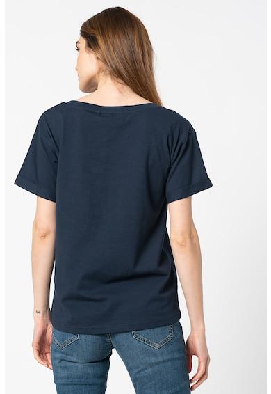 ICHI Tricou de bumbac organic cu imprimeu text Lakeesh Femei