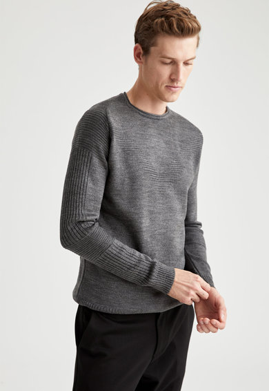 DeFacto Pulover tricotat fin cu motive striate Barbati