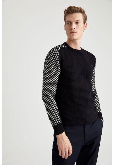 DeFacto Pulover tricotat fin cu aspect texturat si maneci contrastante Barbati
