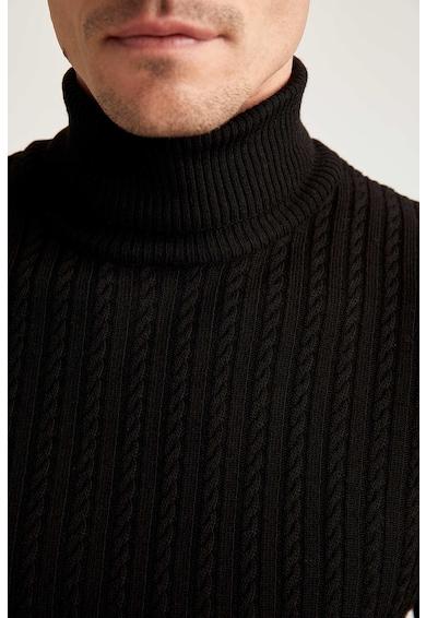 DeFacto Pulover slim fit cu guler inalt si model torsade discret Barbati