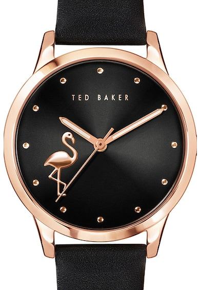 Ted Baker Ceas cu o curea de piele Fitzrovia Flamingo, 34 MM Femei