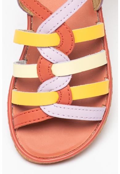 Camper Sandale de piele cu brant ergonomic si barete multiple Twins Fete