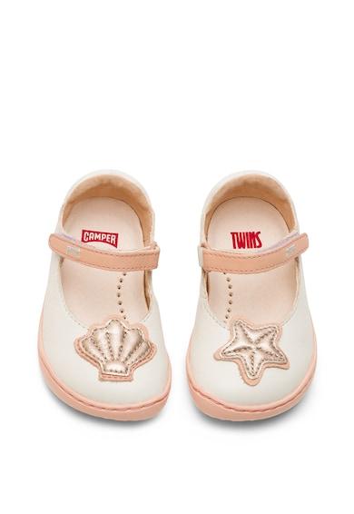 Camper Pantofi Mary Jane din piele cu tematica marina, Alb prafuit/Roz piersica Fete
